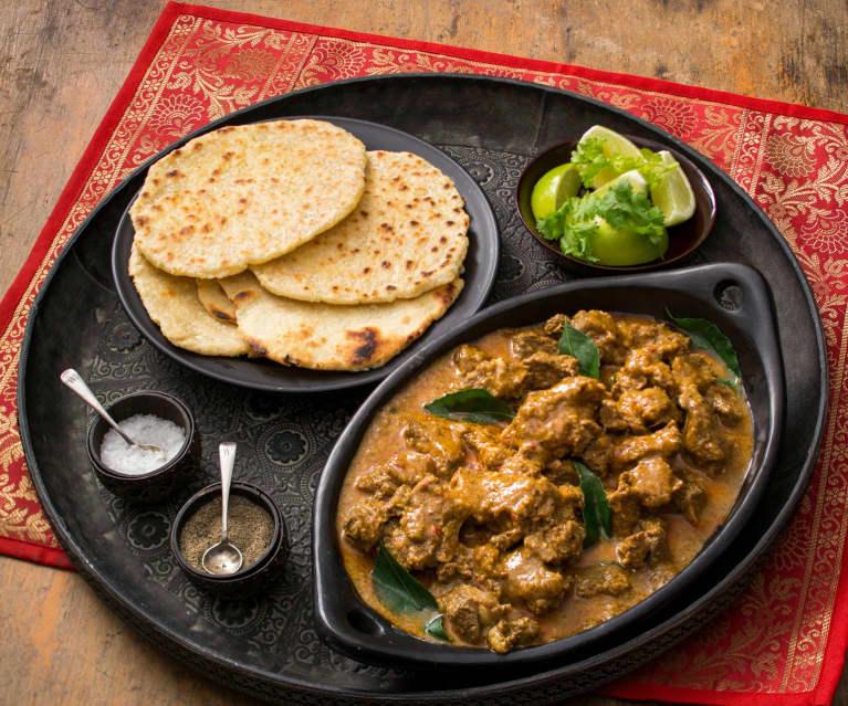 Rindfleisch-Curry mit Kokos-Roti (Kuruma Iraichchi)