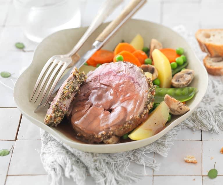 Gigot d'agneau en croûte d'épices et légumes de printemps