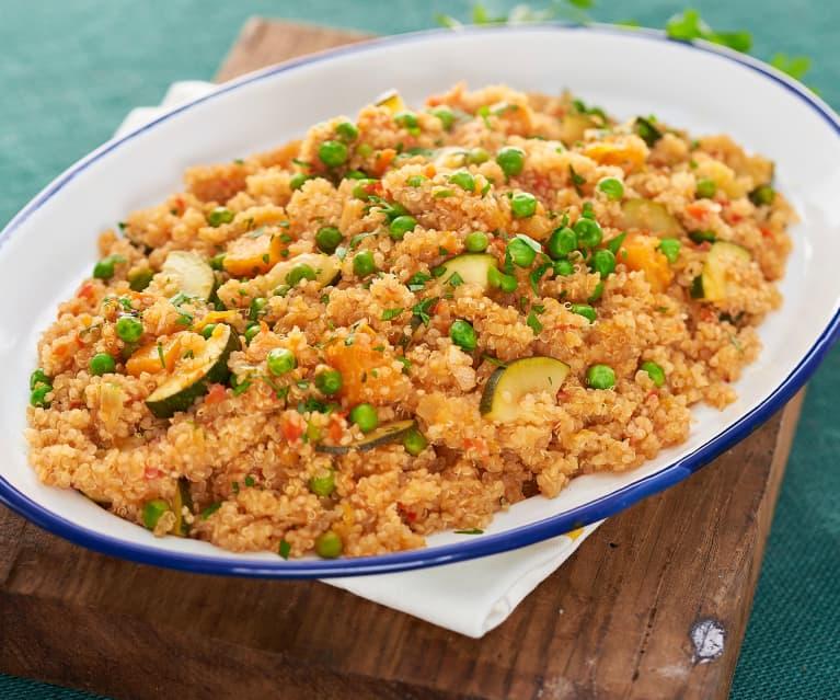 Guiso de quinoa, calabaza y calabacín
