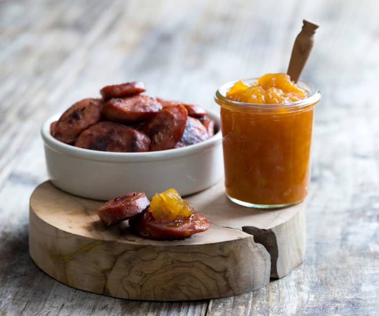 Spiced pear jam and chorizo