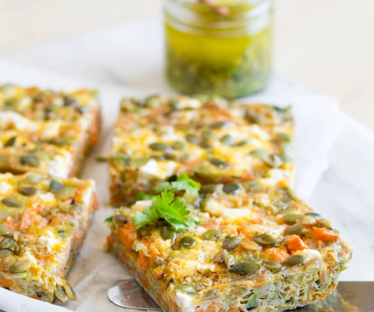 Sweet potato frittata with coriander chilli sauce