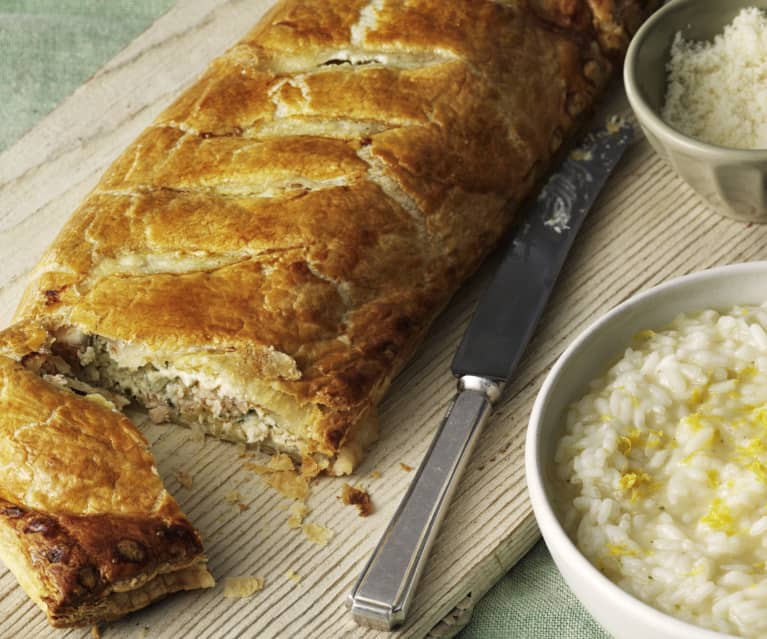 Salmon en Croute with Lemon Risotto