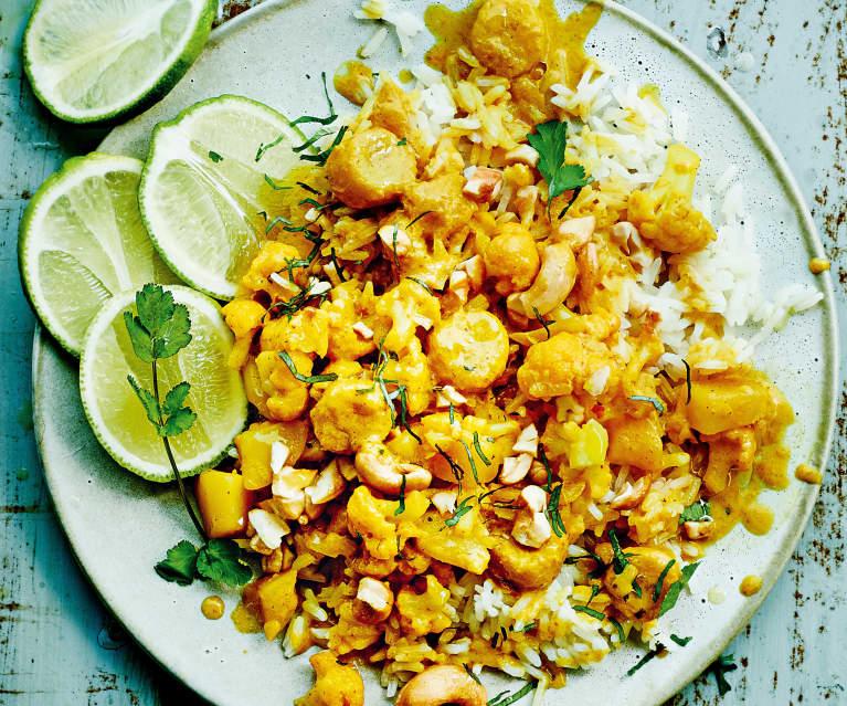 Curry de minibananes aux noix de cajou