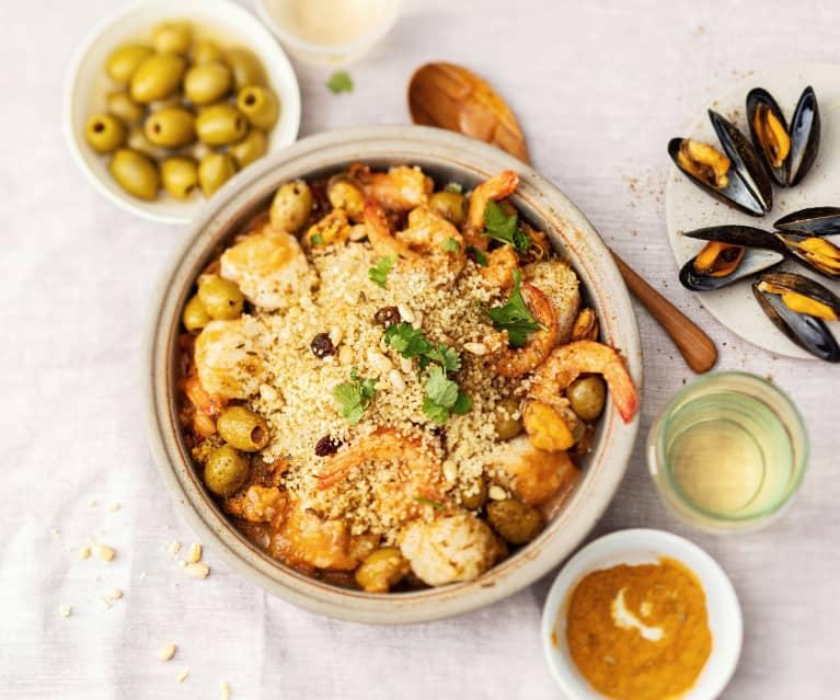 Tajine de crevettes, moules et noix de saint-jacques