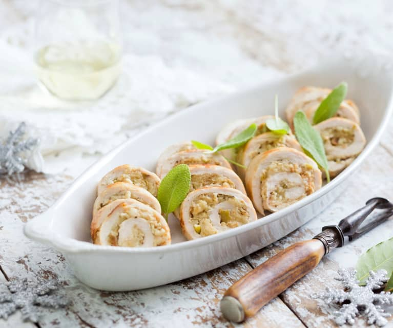 Turkey breast roulade with apple and sage stuffing