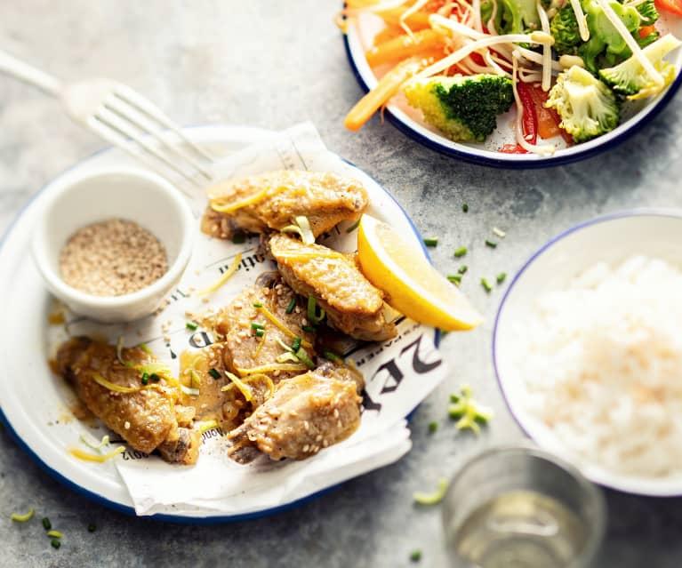 Cytrynowe skrzydełka z ryżem z warzywami (z osłoną noża miksującego)