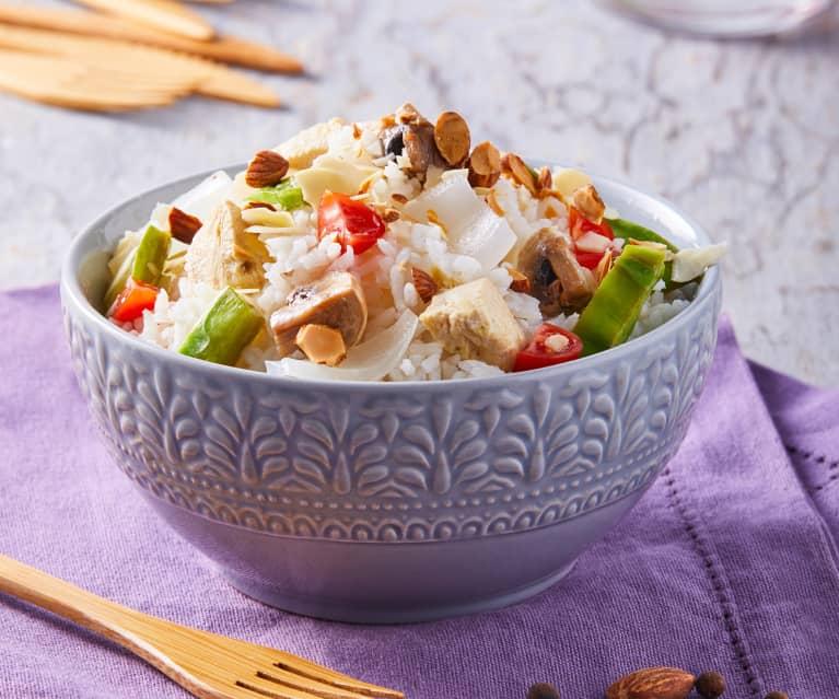 Tazón de arroz, verduras y proteína