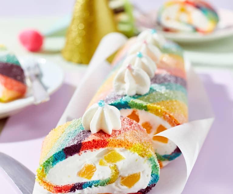 Regenbogen-Biskuitrolle mit Pfirsich-Quark-Füllung