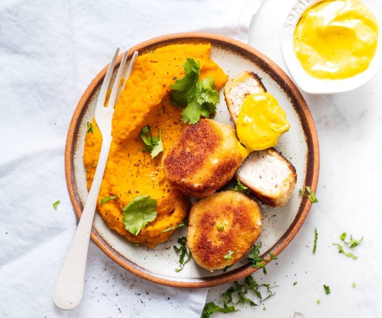 Nuggets de poulet, purée de patates douces