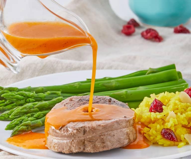 Filete de res con arroz, almendras y arándanos TM6