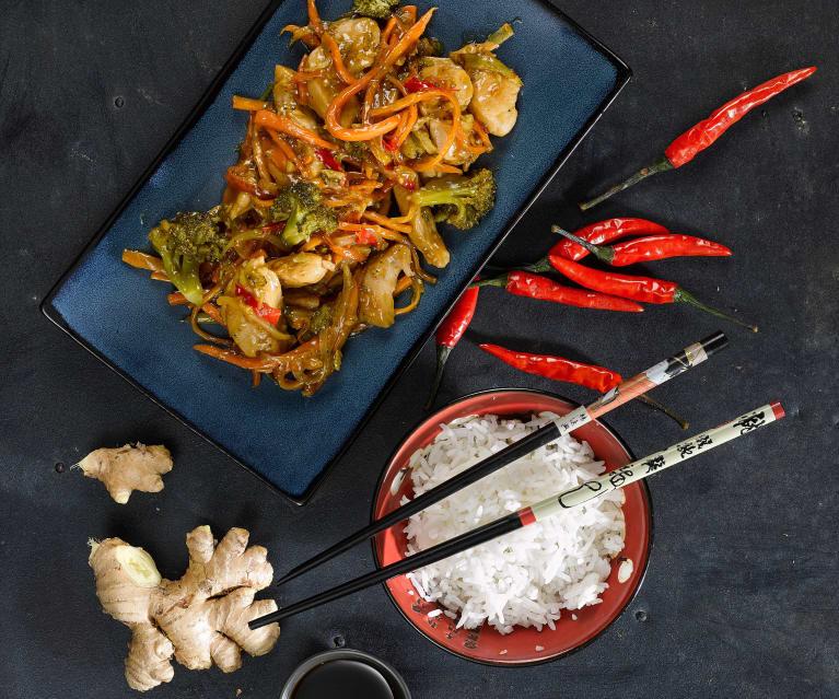 Kurczak w miodowym sosie teriyaki z warzywami i ryżem