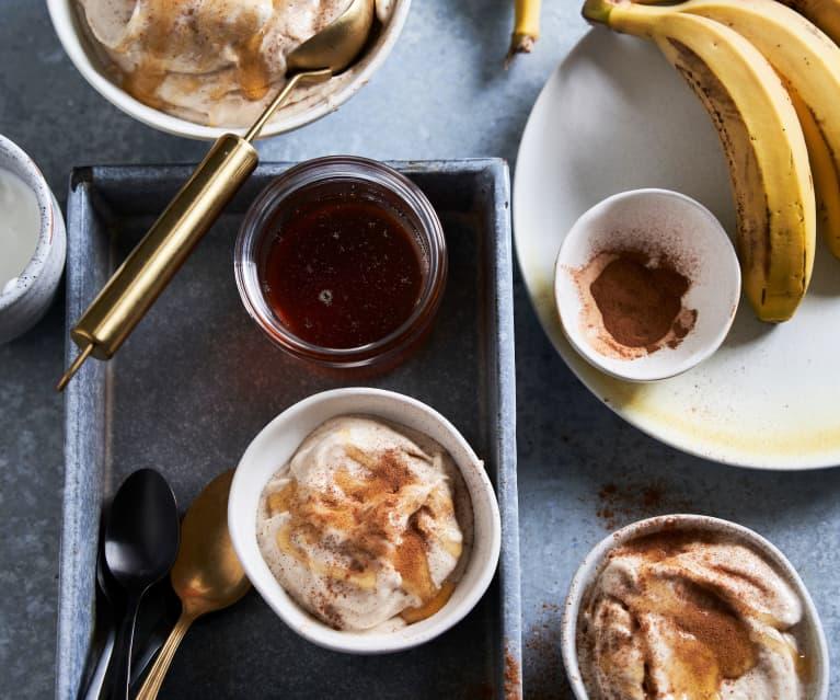 Gelado de banana e canela sem açúcar