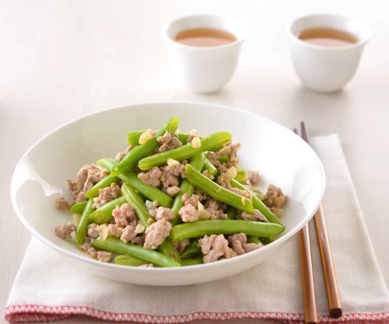 豬肉末炒四季豆