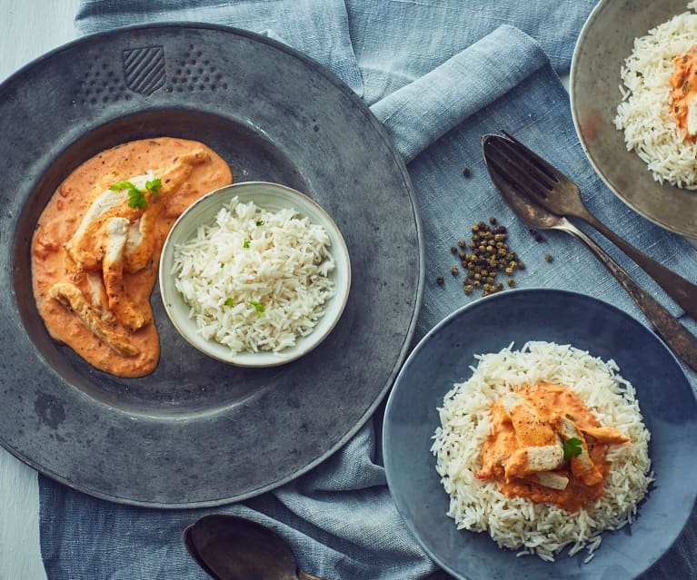 Chicken Strips with Creamy Tomato Sauce and Basmati Rice