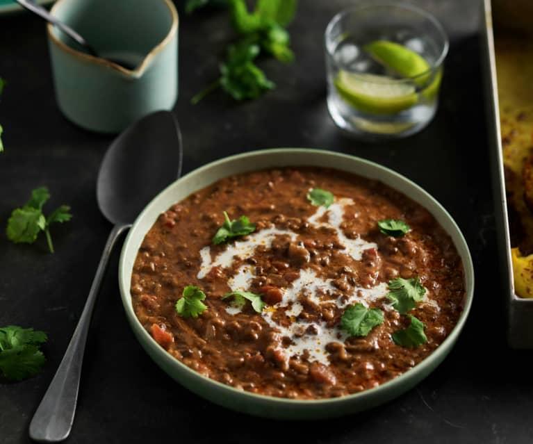 Curry de lentejas con coliflor rostizada en cocción lenta TM6