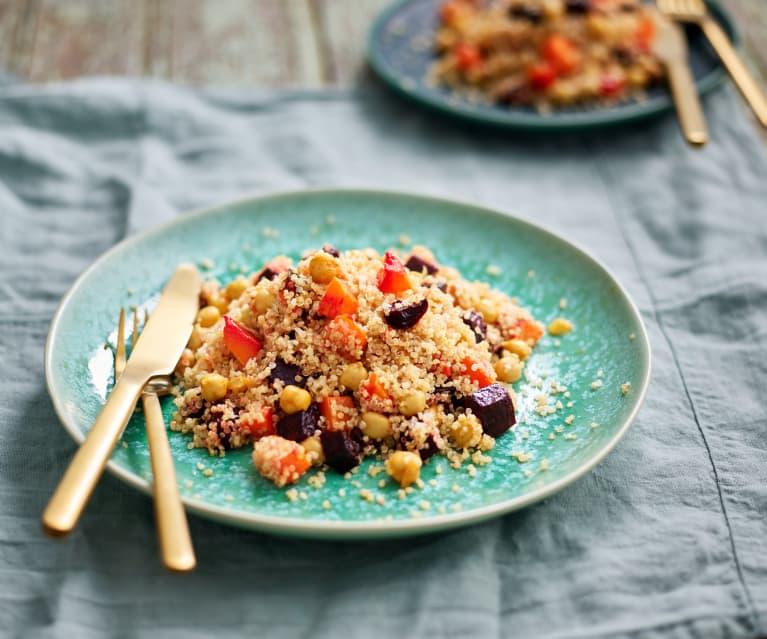 Salada de quinoa e grão com molho de mostarda