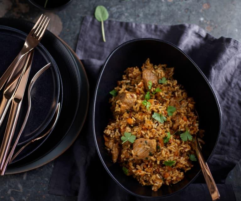 Pilaf de arroz salvaje con aguja de cerdo (Cocción de arroz)