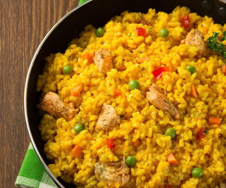 Risotto de pollo y verduras