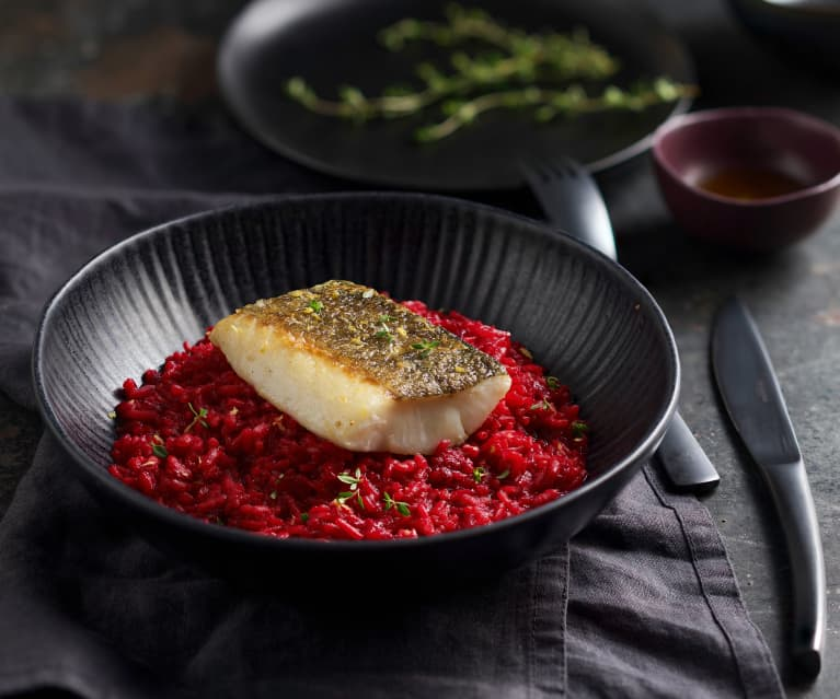 Sous-vide-Kabeljau mit Rote-Bete-Zitronengras-Risotto