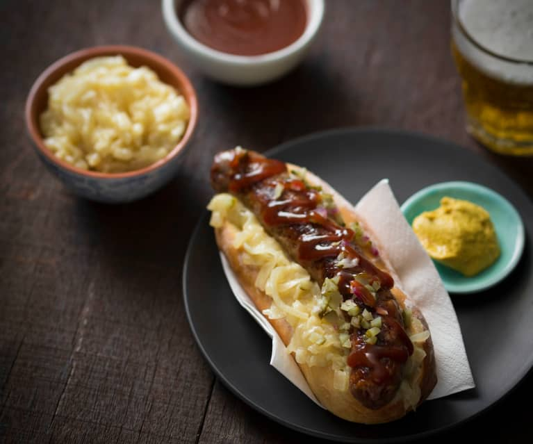 Sausage sizzle with beer braised onions