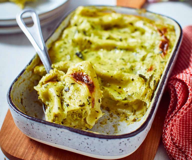 Gratinierte Cannelloni mit Erbsen-Füllung