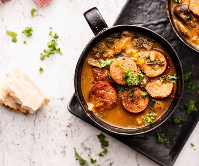 Ragoût de champignons et saucisses à l'orge
