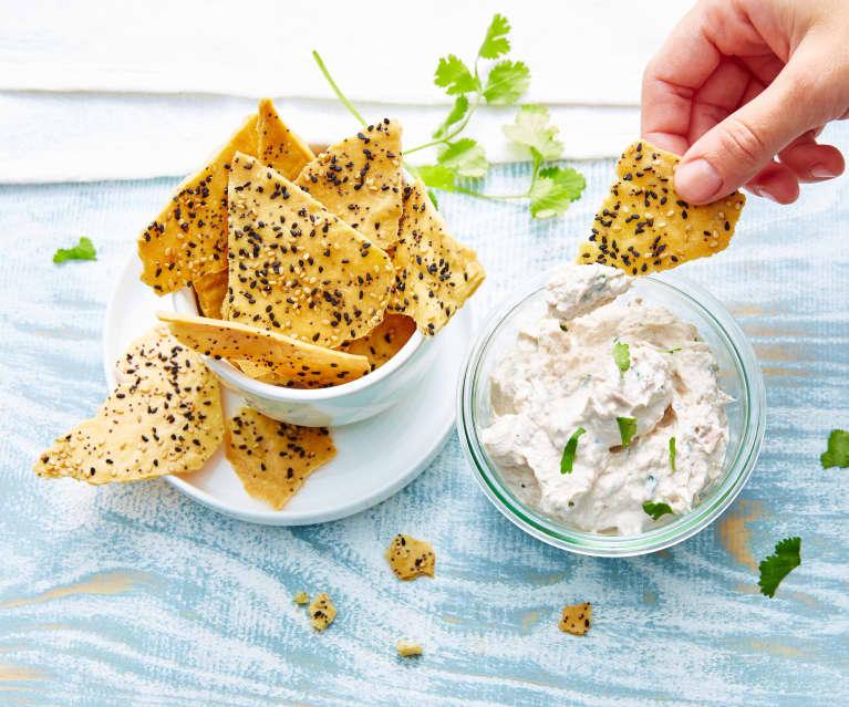 Chips aux graines et rillettes de thon au citron vert