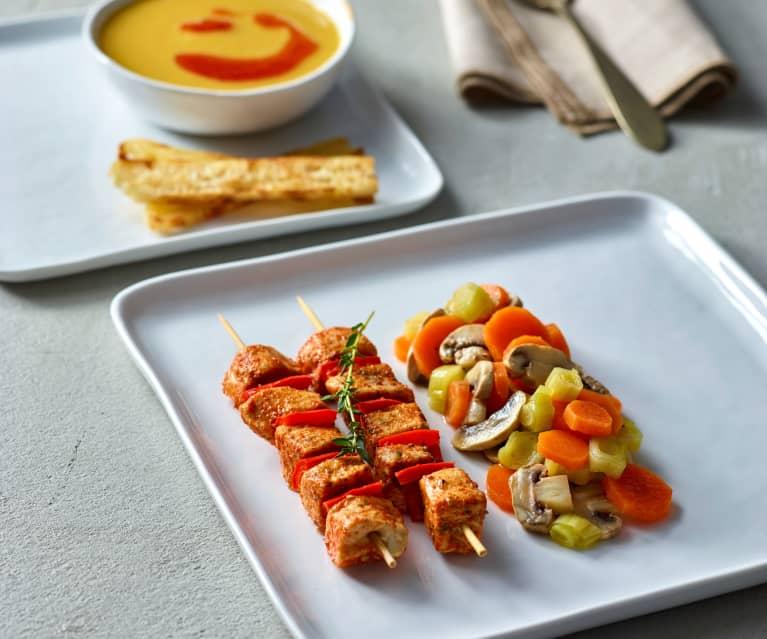 Mercimek Çorbası, Buharda Pişirilmiş Tavuk Şiş ve Sebze