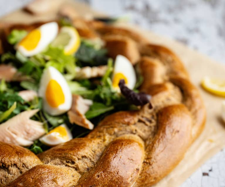 Wholemeal Easter bread with eggs and smoked trout fillets