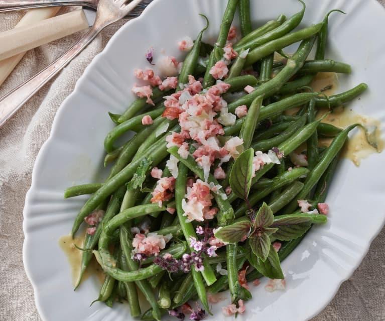 Salade de haricots verts aux lardons