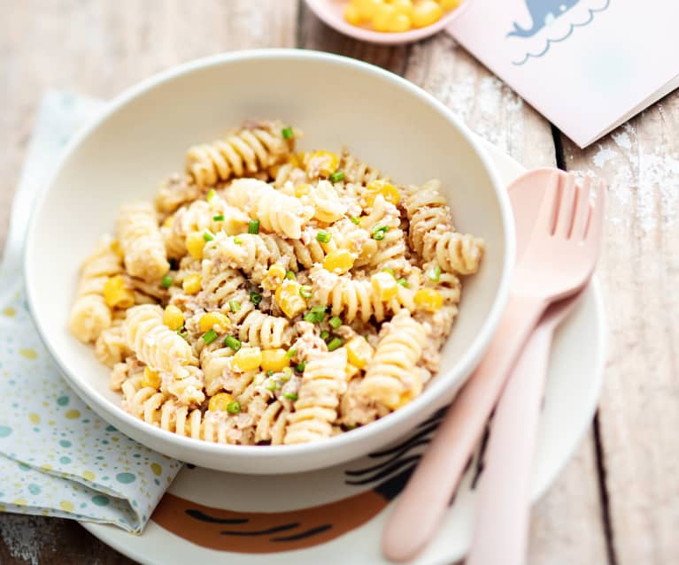 Baby-friendly Cheesy Tuna and Sweetcorn Pasta Salad