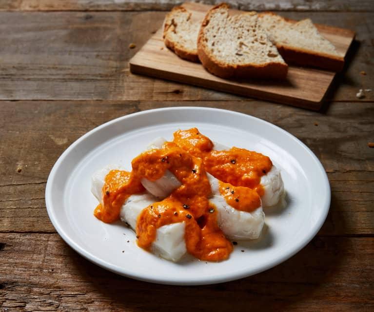 Merluzzo sottovuoto con crema di peperoni