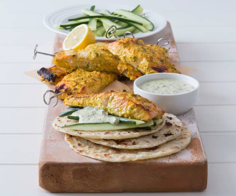 Salmon kebabs with coriander chilli mayonnaise
