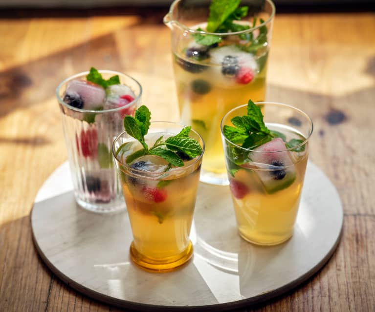 Iced Tea with a Honey and Mint Syrup and Fruit Ice Cubes