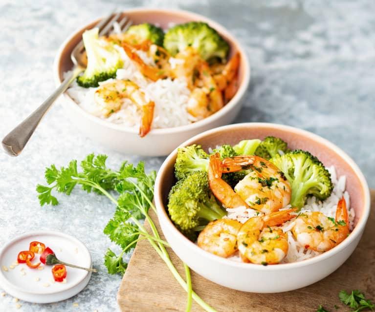 Crevettes pimentées, riz et brocoli