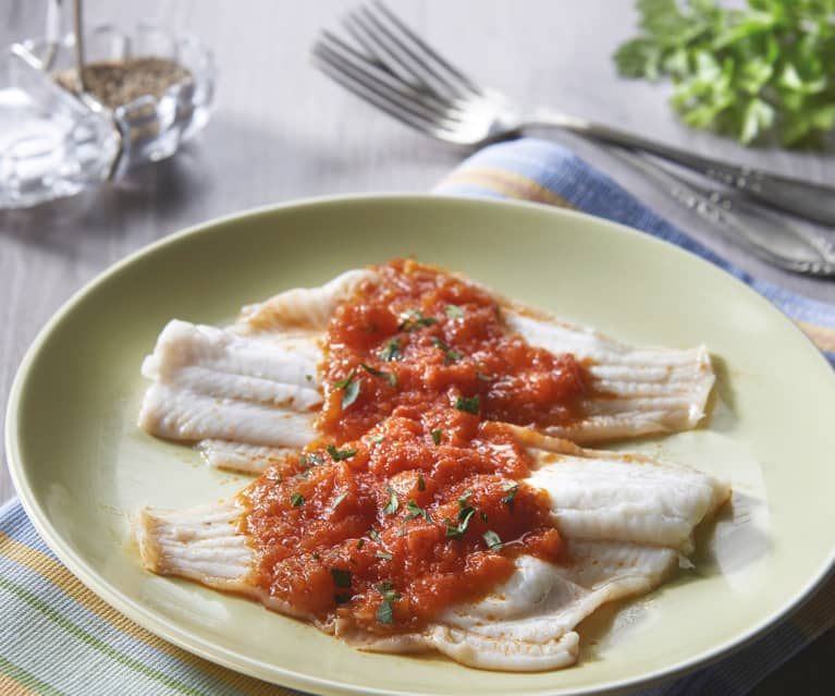 Steamed Plaice with Tomato Sauce