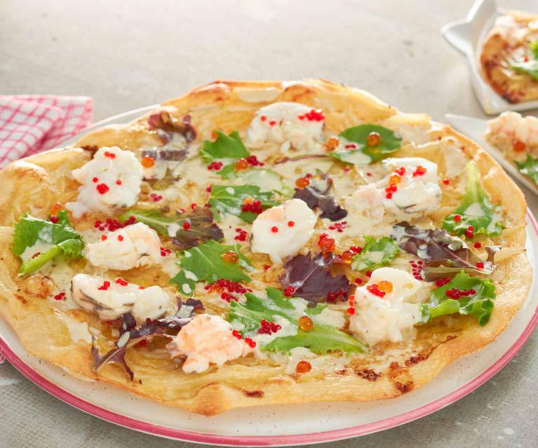 Pizza con langosta y salsa Alfredo (Estados Unidos)