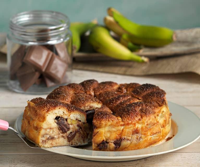 Pudin con plátano y chocolate