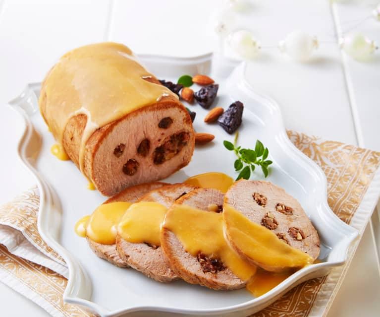 Lomo de cerdo en salsa de mandarina y nuez