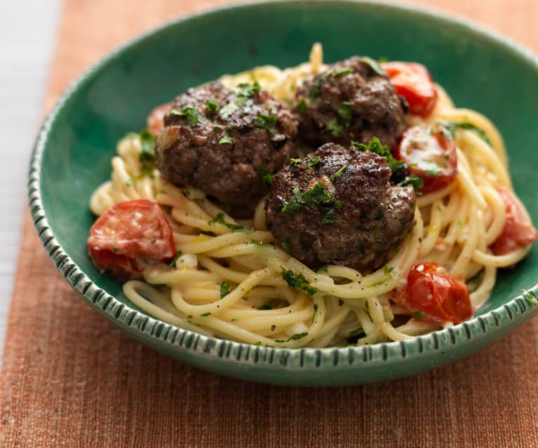 Spaghetti with Beef and Olive Meatballs