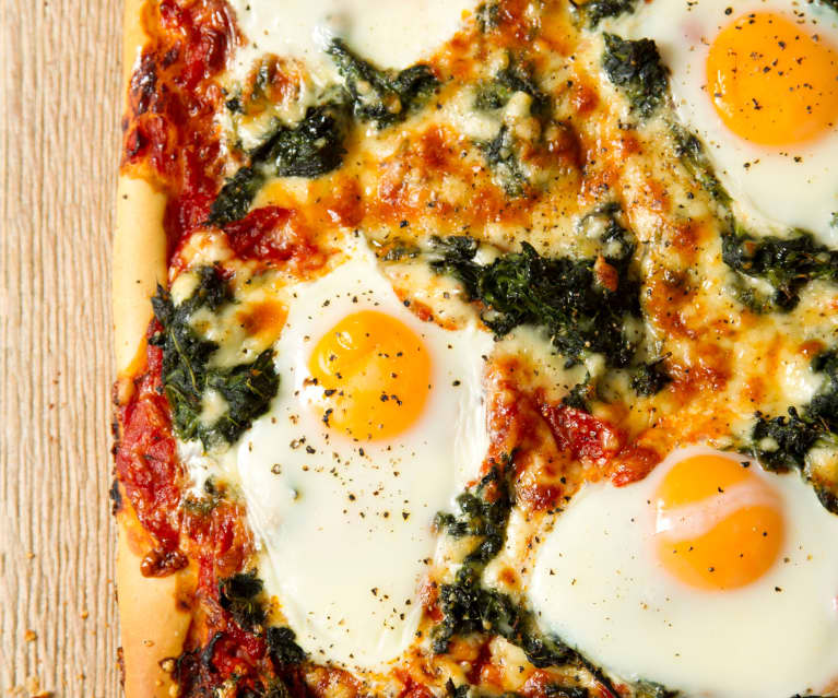 Pizza with Tomato, Red Pepper Sauce, Spinach and Eggs