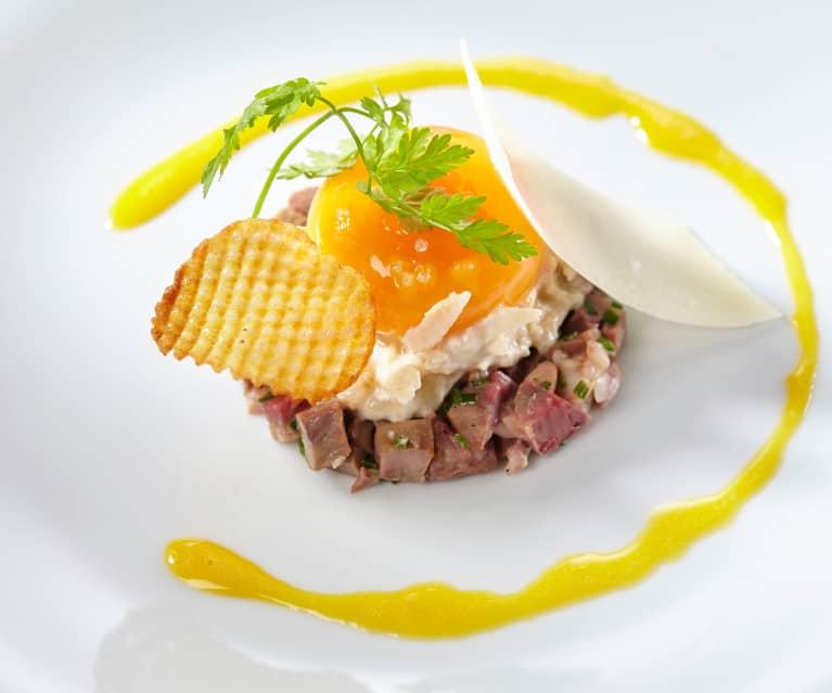 Œuf et rognon, tourteau en rémoulade et œuf en vinaigrette