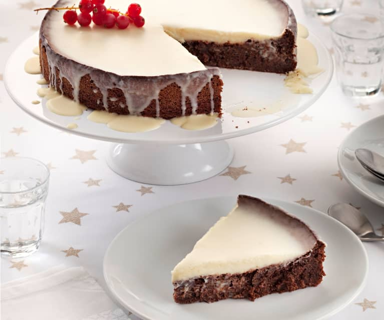 Gluten Free Almond Cake with White Chocolate Topping