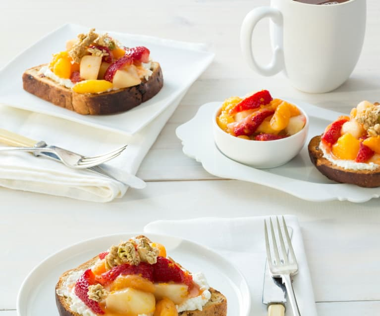 Mixed Fruit Compôte with Goat's Cheese and Granola on Toast