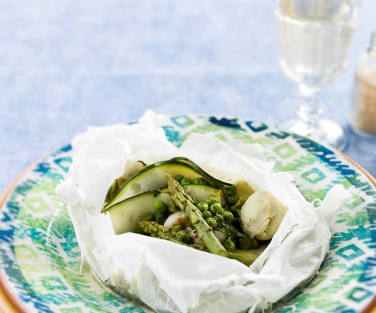 Papelotes de pescada com legumes verdes
