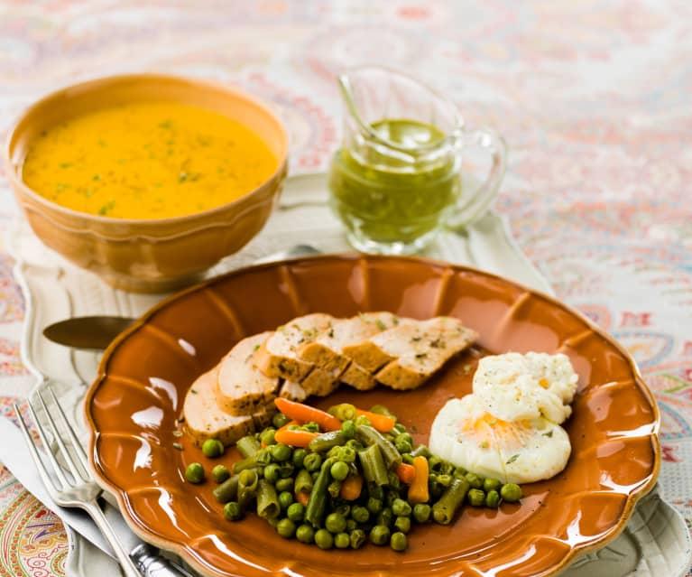 Refeição completa para 4: Creme de legumes e frango com ervilhas, feijão-verde, cenouras e ovos escalfados