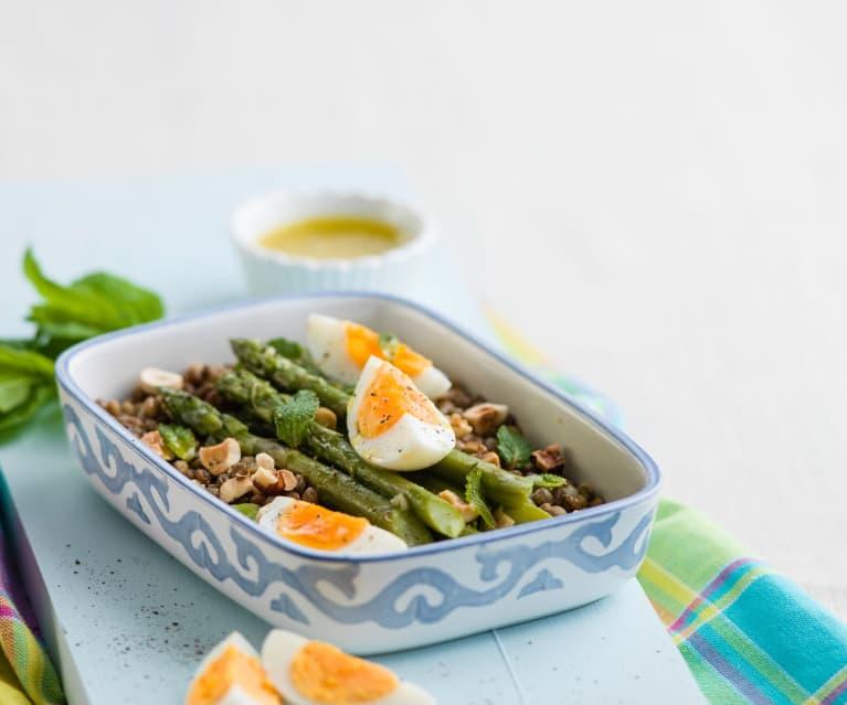 Salada de espargos e lentilas