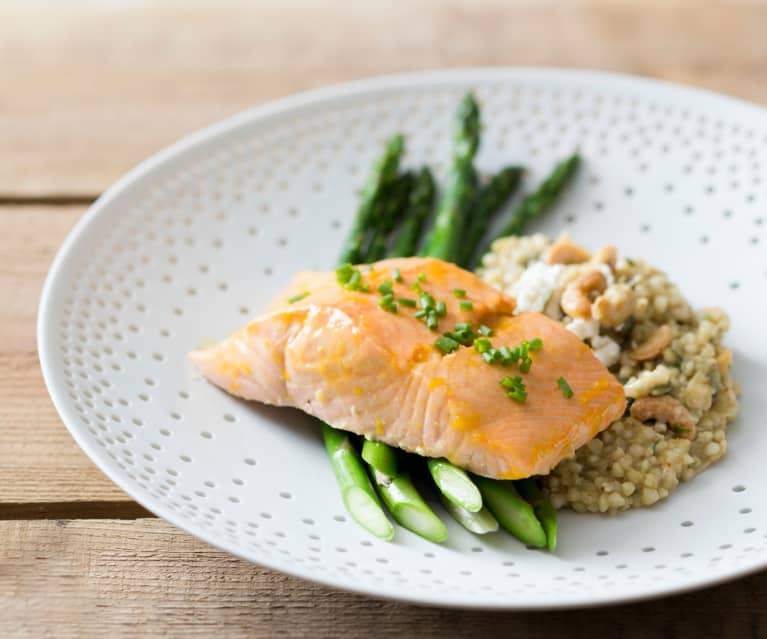 Salmon Fillets with Orange Glaze, Buckwheat Risotto and Steamed Asparagus