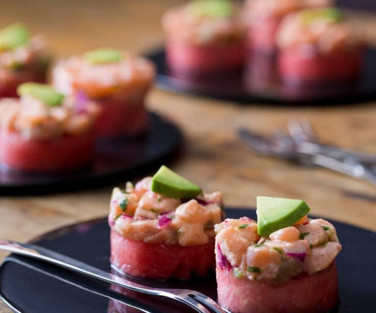 Watermelon and Salmon Ceviche Stack