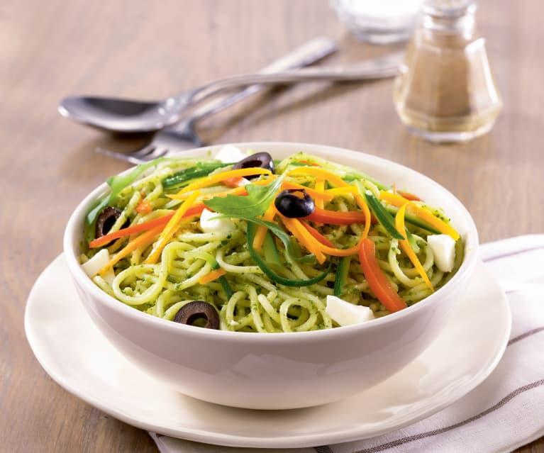 Septembre - Spaghetti aux légumes et pesto de roquette
